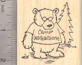 Camp Counselor Bear Rubber Stamp, Wobeargone, Camping J24419 Wood Mounted