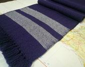 navy & grey:  handwoven twill wool scarf