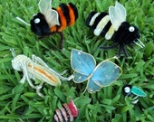Lot  6 Assorted Vintage 70s Wire Chenille Bugs...Butterfly, Cricket, Bees...#4...Millinery, Crafts