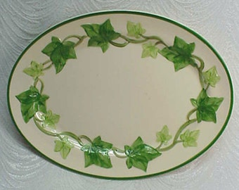 "Vintage Franciscan Ivy Earthenware 11 1/4"" Oval Steak Plate or Platter...TV mark"