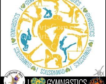Customized I HEART Gymnastics Circle - 1 png graphic - Gymnastics clipart graphic tumbling cheer gymnast [ Choose YOUR Color ]