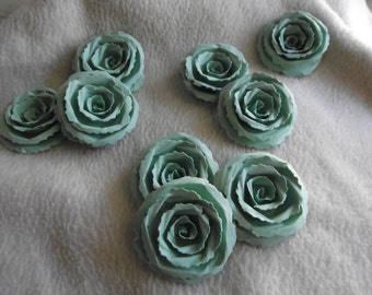 Scrapbook Paper Flowers...9 Piece Set Very Sweet and Dainty Mint Green Scrapbook Rolled Paper Flower Roses