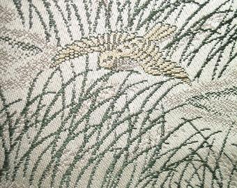 Elegantly Woven Grassland Scene Silk Obi Sash
