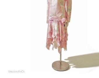 Vintage 20s Style Pink Chiffon Dress // Silk Handkerchief Hem Dress S