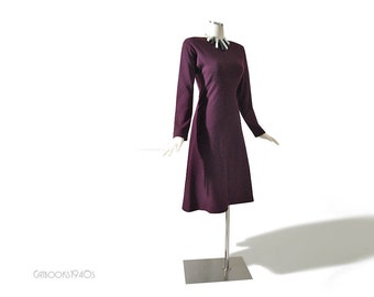 Vintage 70s Halston Couture Dress - Aubergine Eggplant Purple Wool Jersey Dress S