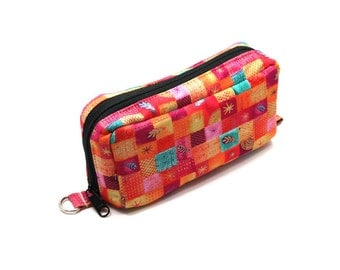 Essential Oil Case Holds 10 Bottles Essential Oil Bag Pink Orange Turquoise Squares and Flowers