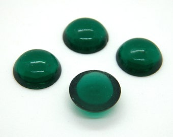 Vintage German Emerald 11mm Round Glass Flat Back Cabochons (4)