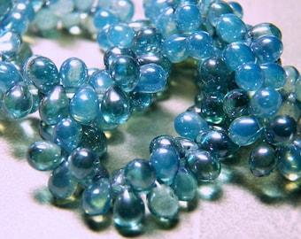 Czech Denim Blue Opal Glass Teardrop Beads 5x7mm (50) 0727-P