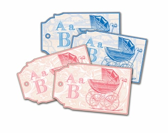 Baby Buggy Gift Tags, Alphabet Baby Shower Tags, New Baby Tag, Baby Shower Birth Announcement, Vintage Baby Stroller, Alphabet