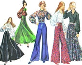 1970s Womens Skirt Pants Blouse Pattern Simplicity 5310 Gored Maxi Skirt Wide Leg Palazzo Pants Blouse Vintage Sewing Pattern Bust 36 Uncut