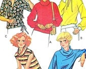 Womens Pullover Top Pattern McCalls 5911 Knit Top Drawstring Waist Cowl Neck Split Neck 1970s Plus Size Vintage Sewing Pattern Bust 44 - 46