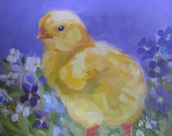 CHICK And Flowers 6 x 6 Oil Painting Original