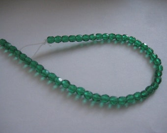 7 Inch Strand of 4mm Bottle Green Fire Polished Czech Beads