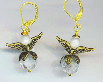 Small Angel Crystal Earrings . Brass Petal . Communion Angel . Guardian Angels . Christmas Easter - Holiday Angels by enchantedbeas on Etsy