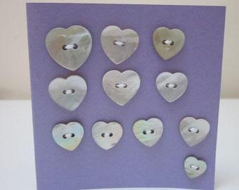 11 Mixed Heart Shell Buttons