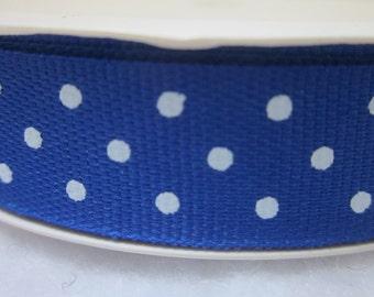 3 Metre Spool Royal Blue Polkadot Ribbon
