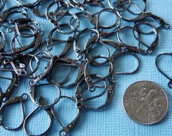 Leverback  earwire - black gunmetal plated brass leverback earwire  - 50 pcs ear wire hoops, 17x10mm EWL 703