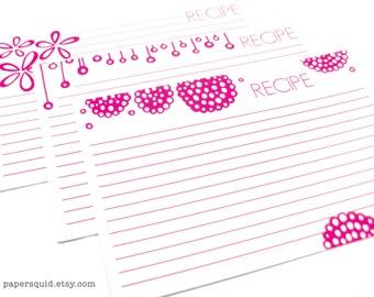 4x6 inch Recipe Cards Magenta - Printable DIY - 3 Designs - INSTANT DOWNLOAD - Item 122