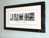 Your Name in Architecture Letter Photos Custom Black and White Alphabet Photography 10x20 Unframed