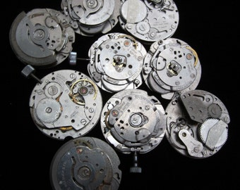 Vintage Antique Industrial Looking Watch Movements Steampunk Altered Art Assemblage DI 20