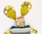 A knitted plush children and babies toy, knitted animals, handmade plush, knitted baby toys, bunny soft toy, geekery, knitted dolls