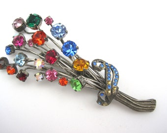 Vintage Rhinestone Flower Bouquet Brooch
