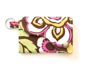 Keychain Wallet  made w/ Designer fabric Deco Rose in Brown