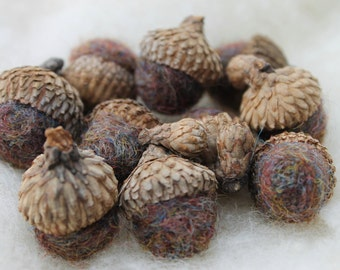 Wool Felted Acorns Marbled Brown Blue Rust 100% Wool Roving Home Decor