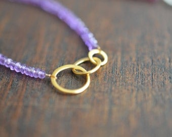 Birthday or Bridesmaids Gift - One (1) Three linked 24k Vermeil circles with gemstone band bracelet