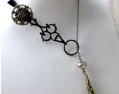 Opera Black Lariat Statement Necklace - Steampunk Repurposed Hour Hand Lariat