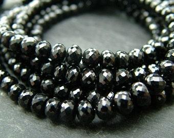 "Black Spinel Rondelles, AAA, Faceted, 3.25-5.5mm - 8.25"" Strand (ET784a)"