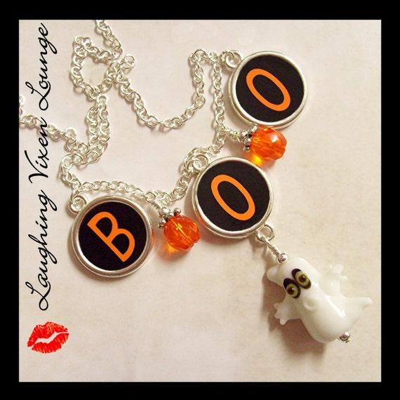 Custom Ghost Jewelry - Custom Halloween Jewelry - Halloween Necklace - Boo Ghost Necklace