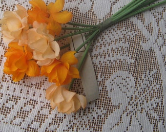 Vintage Millinery Flowers Czechoslovakia Fabric Ruffled Millinery Flowers Orange  VF 061 OR