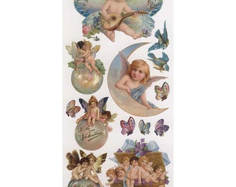Self Adhesive Valentine Aqua Angels Stickers 1 Sheet Colorful Scrapbooking Stickers  Number 69