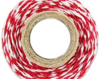 Classic Red Bakers Twine - 100 yards of red and white stripe twine