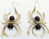 Modern Abstract Art Gold Earrings, Hand shaped symbols with carnelian beads