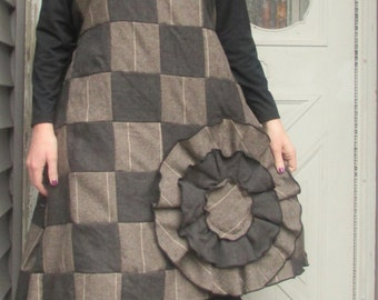 SALE Wool Patchwork Big Flower Dress S
