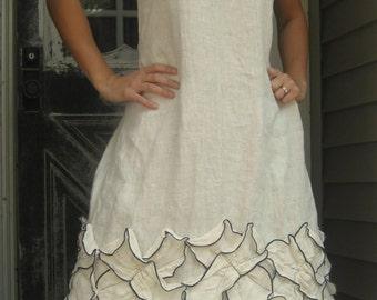 White Linen Petal Dress FoR EVE