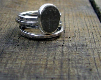 Sterling Stacking Rings - Set of 4 hammered and 1 wide hammered with Trilobite Fossil - MADE TO ORDER