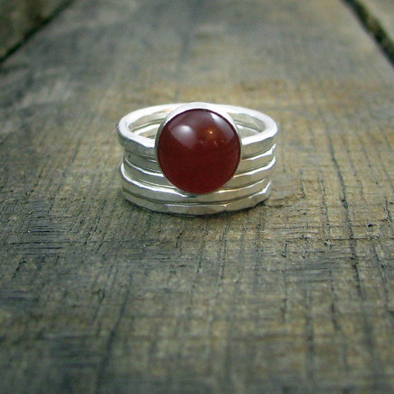 Sterling Stacking Rings - Set of 4 hammered and 1 wide hammered with Red Carnelian -MADE TO ORDER