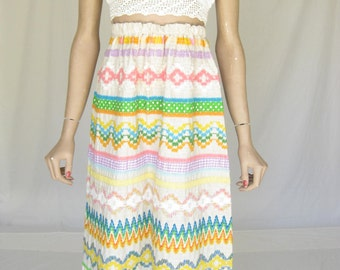 Vintage 70s Embroidered Boho Maxi Skirt