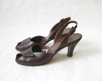 Vintage 40s Palizzio Lizard Skin Peep Toe Pumps. Size 7