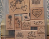 Stampin Up Button Bear 1995 Stamp Set, Teddy Bear and Holidays