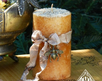 Honey Bee Candle 2x3 . Wisdom, Love, Attraction, Healing, Bee Magic with Orange Blossom Honey, Lavender and Wildflower