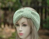 Green Knit Headband, Knitted Ear Warmer, Women's Knitted Headband, Fall Accessories, Knit Winter Headband Earwarmer, Vegan Headband