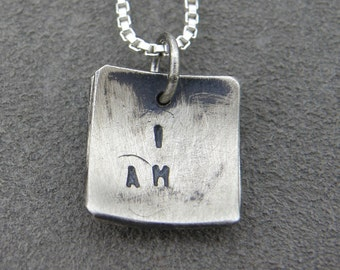 Silver Necklace - Pendant - I am me - Self affirmation faux locket