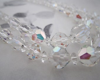 vintage AB cut crystal 2 strand beaded necklace - j5285