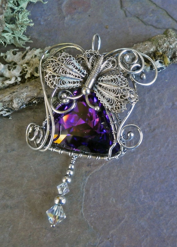 Purple Sterling Silver Pendant with Butterfly