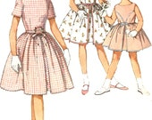 1960s Dress Pattern Simplicity Vintage Simple Inverted Pleat Girls Size 4