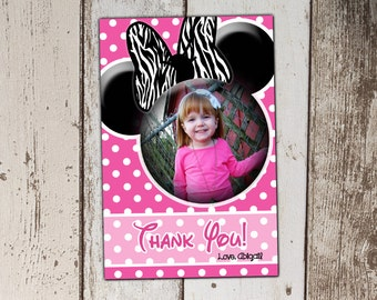 Pink Minnie Mouse Zebra Print Thank You Cards with Photo